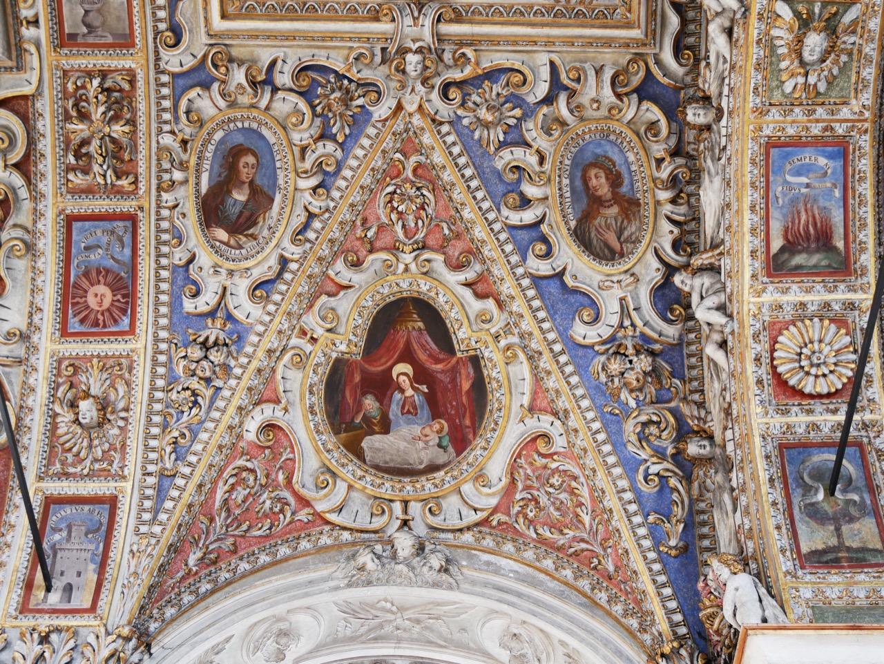 Stuckdecke, Detail (Geburt Jesu)