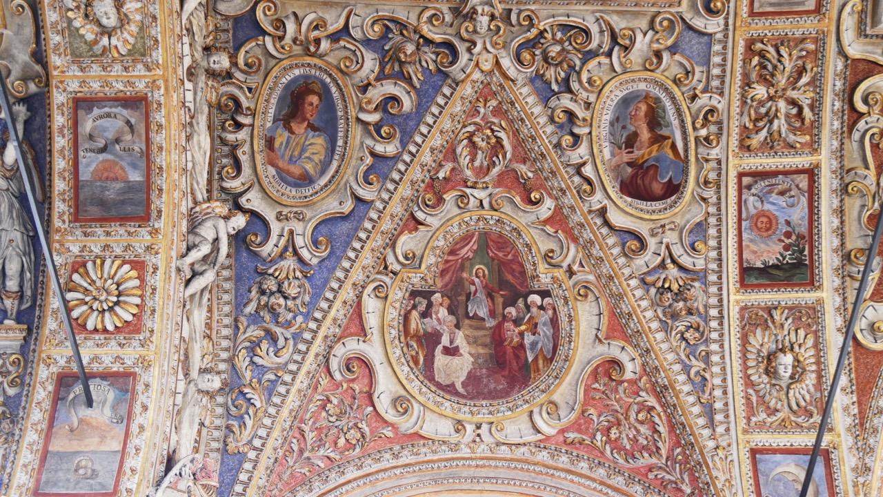 Stuckdecke, Detail (der 12-jährige Jesus im Tempel)