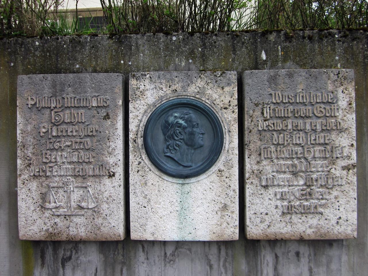 Gedenktafel für Philipp Matthäus Hahn