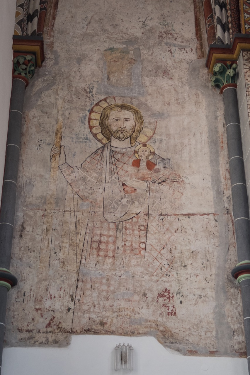 Christophorusfresko im nördlichen Querarm, Detail (14. Jh.)