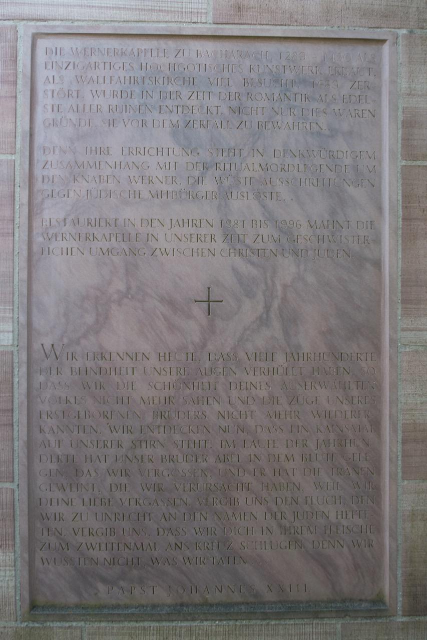 Gedenktafel für die Ritualmordlegende um den Knaben Werner