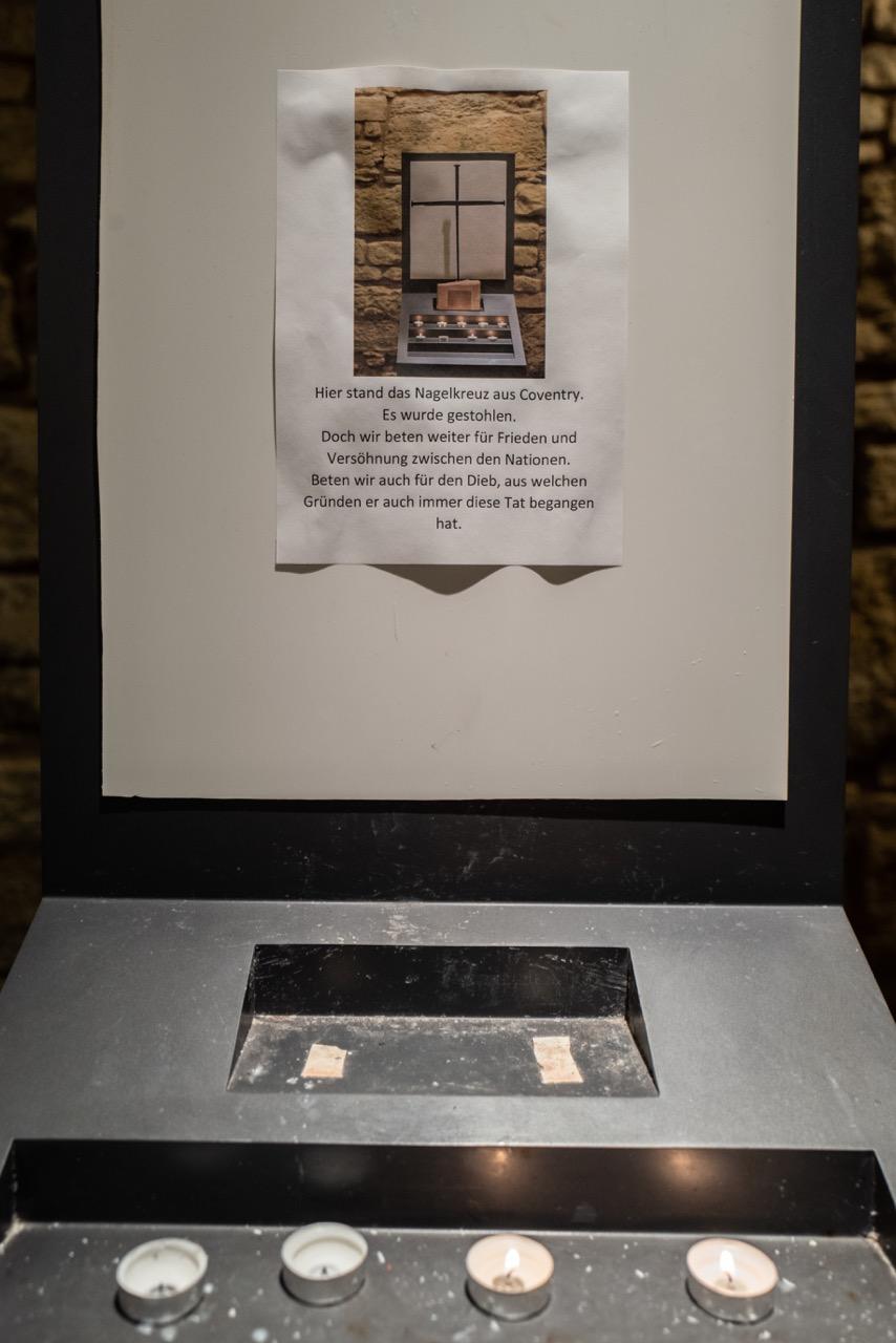 Standort des im Juli 2020 gestohlenen Nagelkreuzes, Ort der Stille