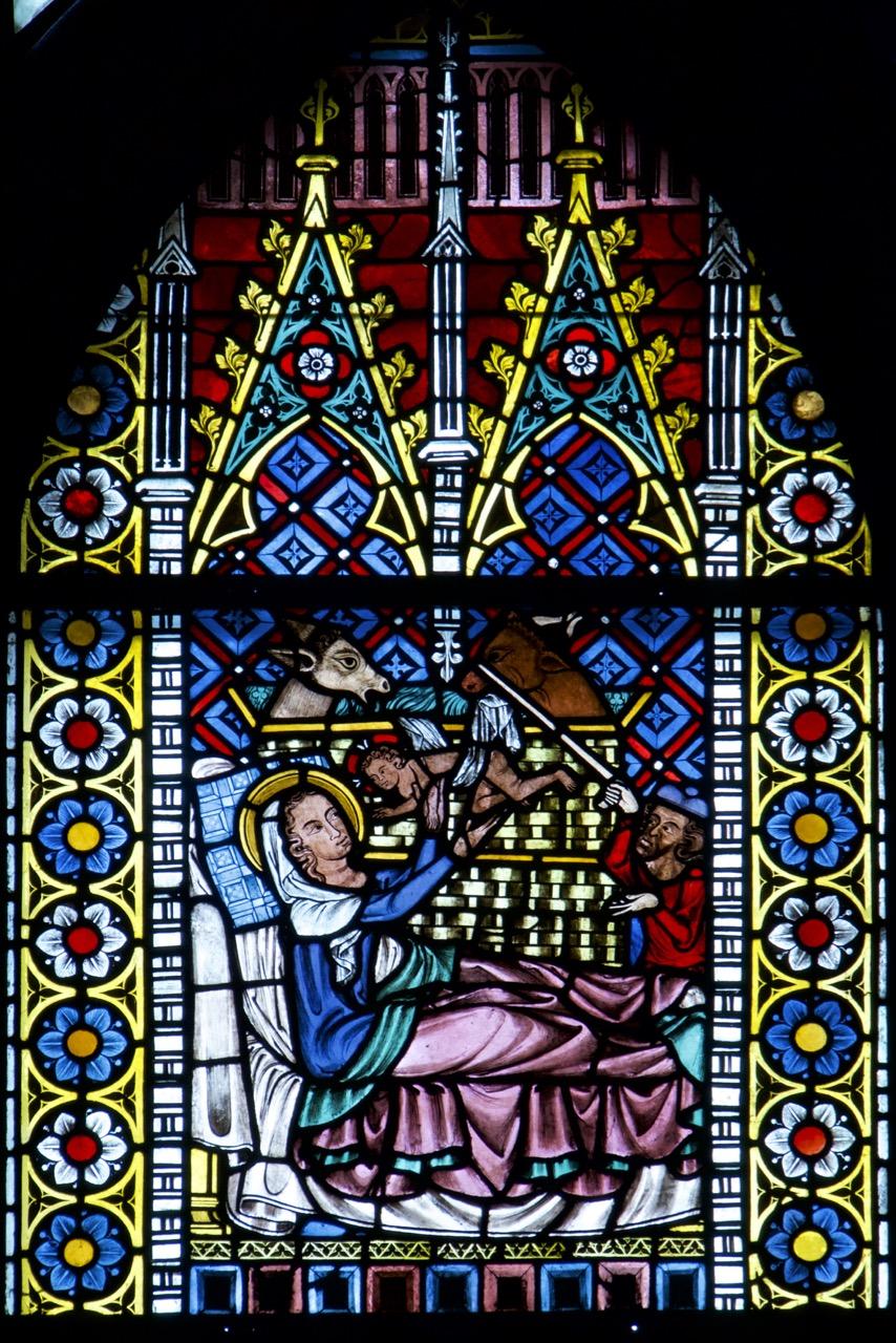 """""""Schmiedefenster"""" (um 1320), Detail mit Geburtsszene"""