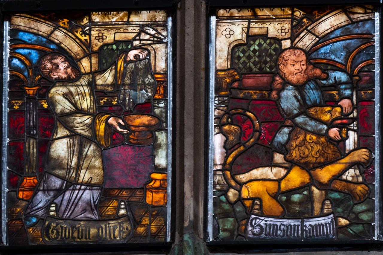 """Fenster """"Simson"""" im Chorumgang, Detail"""