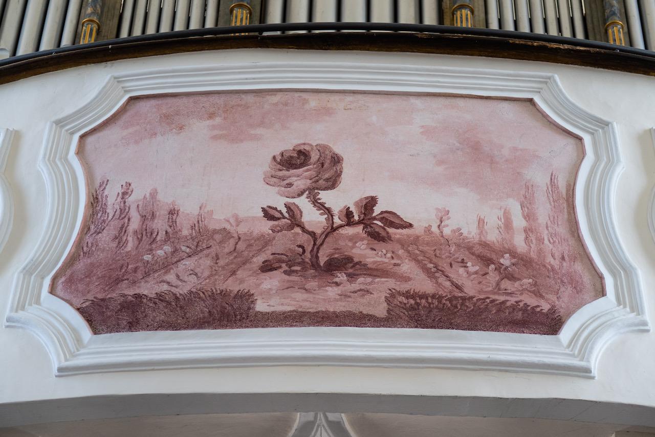 Detail der Orgelempore