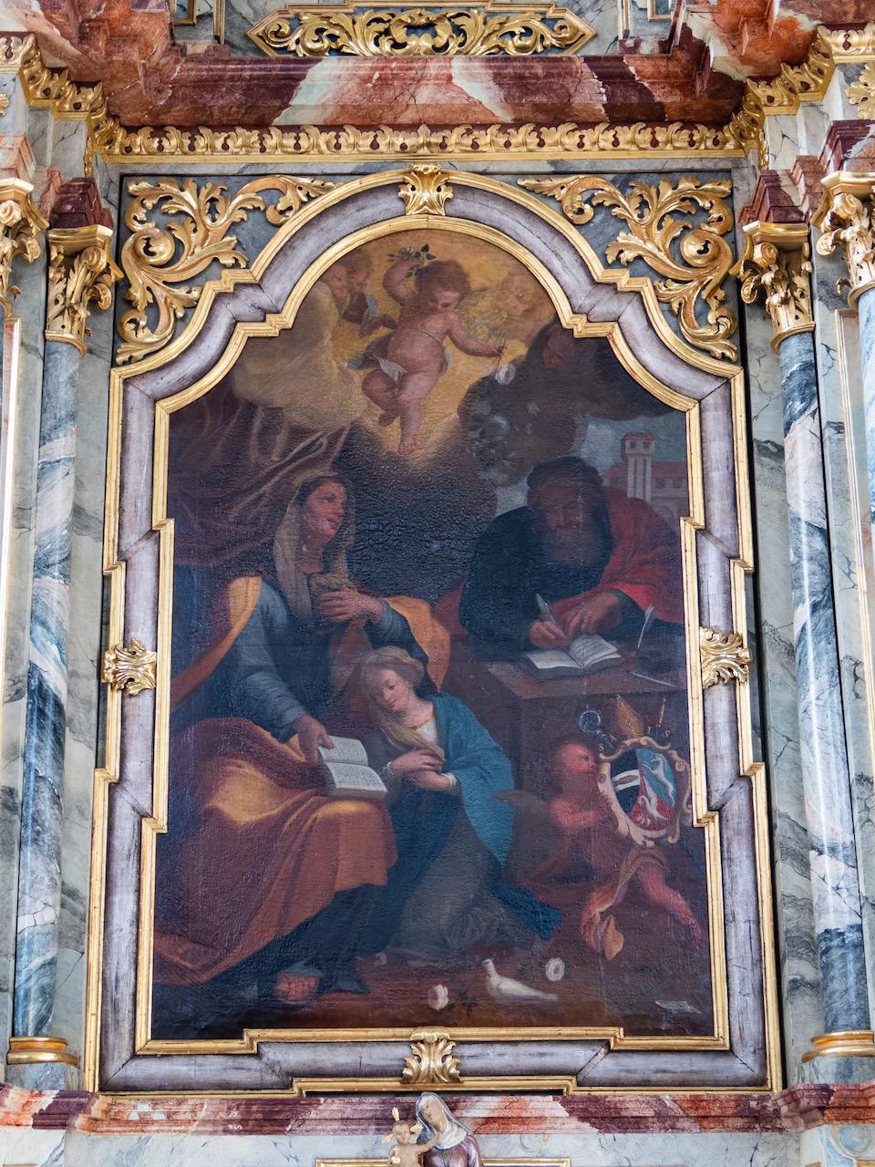 Seitenaltar, der Anna geweiht, Detail: Maria mit ihren Eltern Anna und Joachim