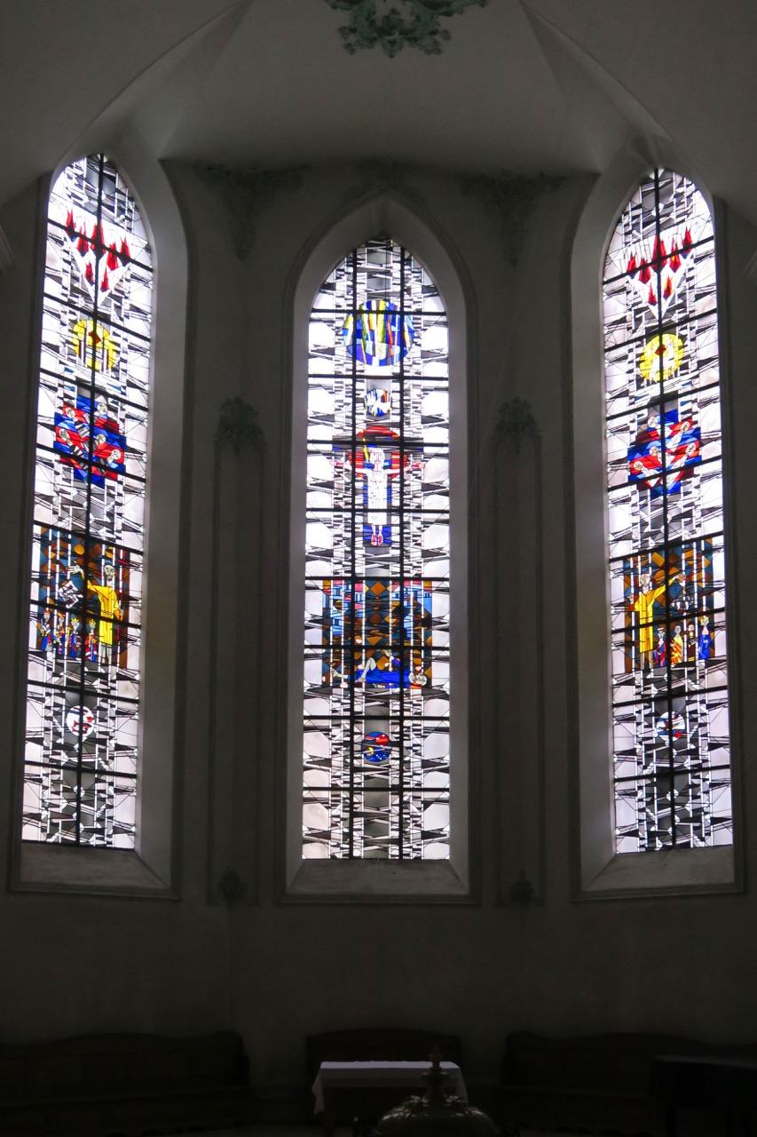 "Chorfenster ""Johannes der Täufer"", ""Stephanus"", ""Seher Johannes"" (Adolf Kleemann, 1965)"
