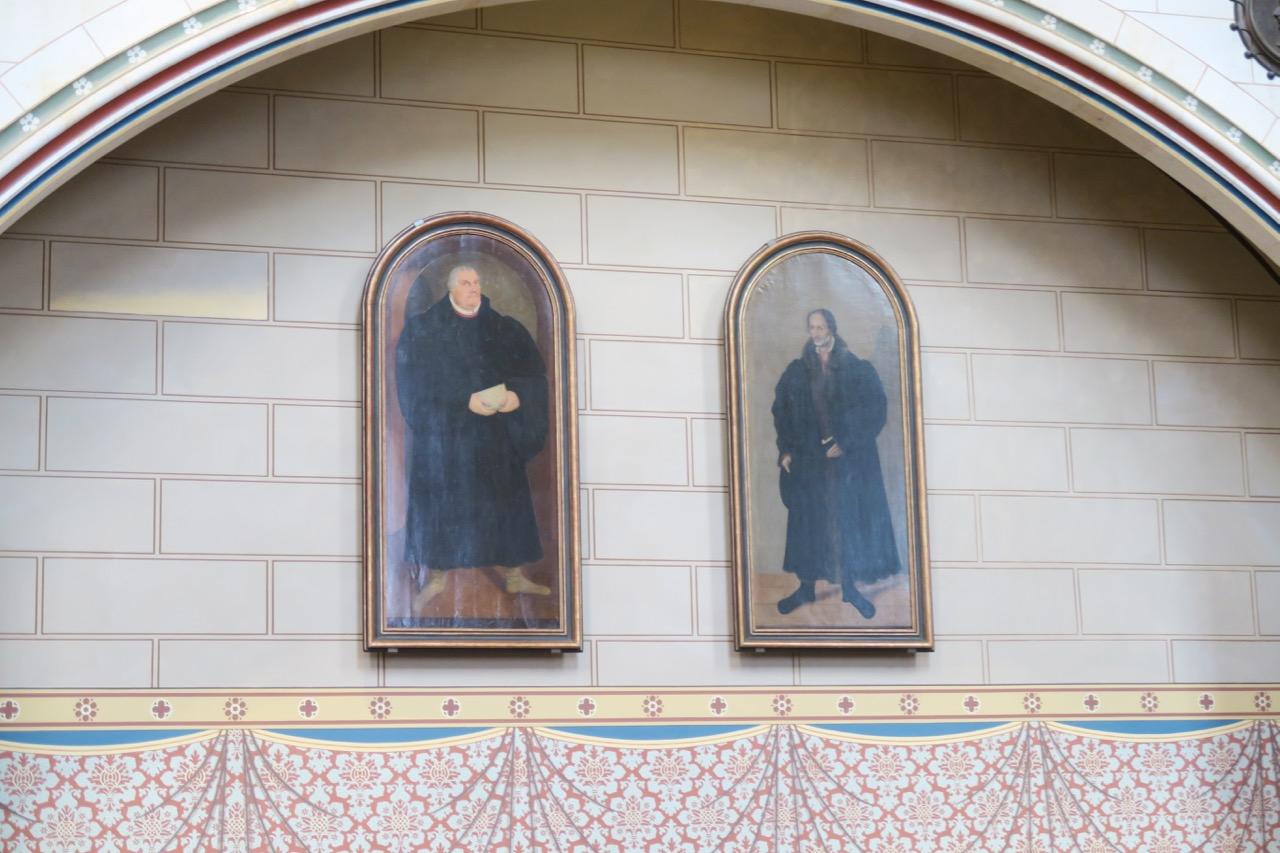 Bildnisse von Martin Luther und Philipp Melanchthon (Mitte 18. Jh. nach älteren Bildern von Lukas Cranach)