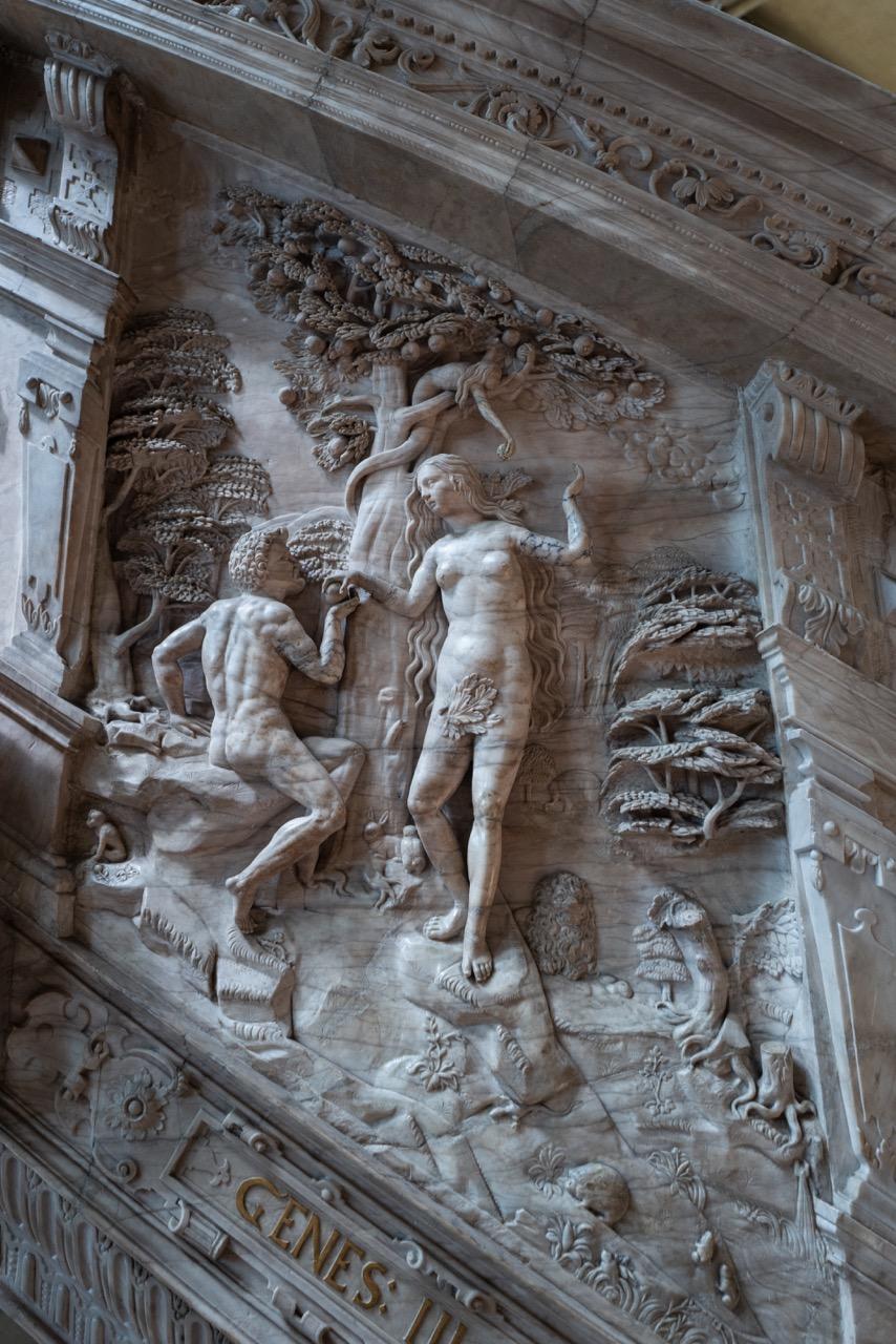 Adam und Eva am Baum der Erkenntnis, Detail Kanzel