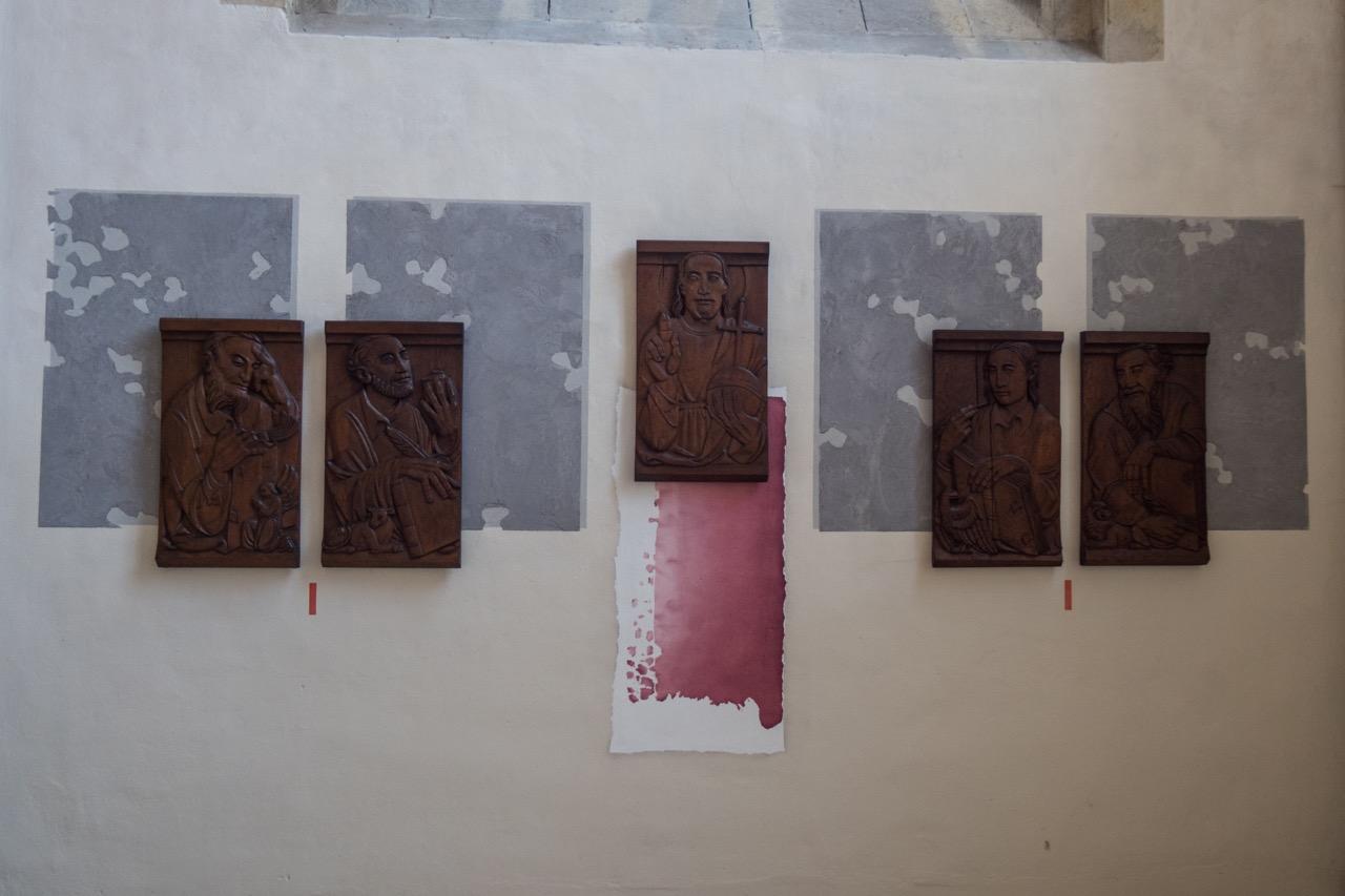 Eichene Bildtafeln mit den Darstellungen Jesu und der Evangelisten