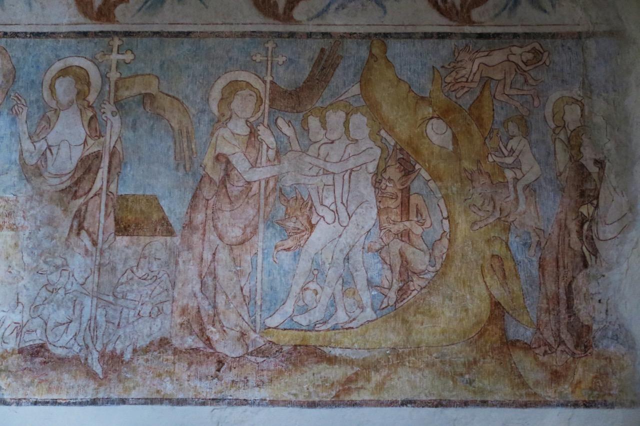"""Langhausfresko, Ausschnitt """"Christus in der Vorhölle"""" (14. Jh.)"""