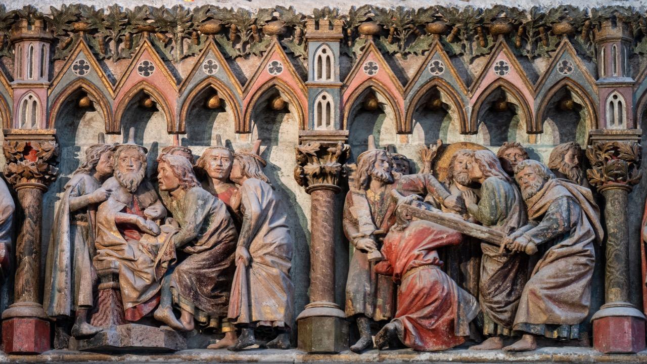 Westlettner, Reliefs Auszahlung der Silberlinge an Judas und Gethsemane