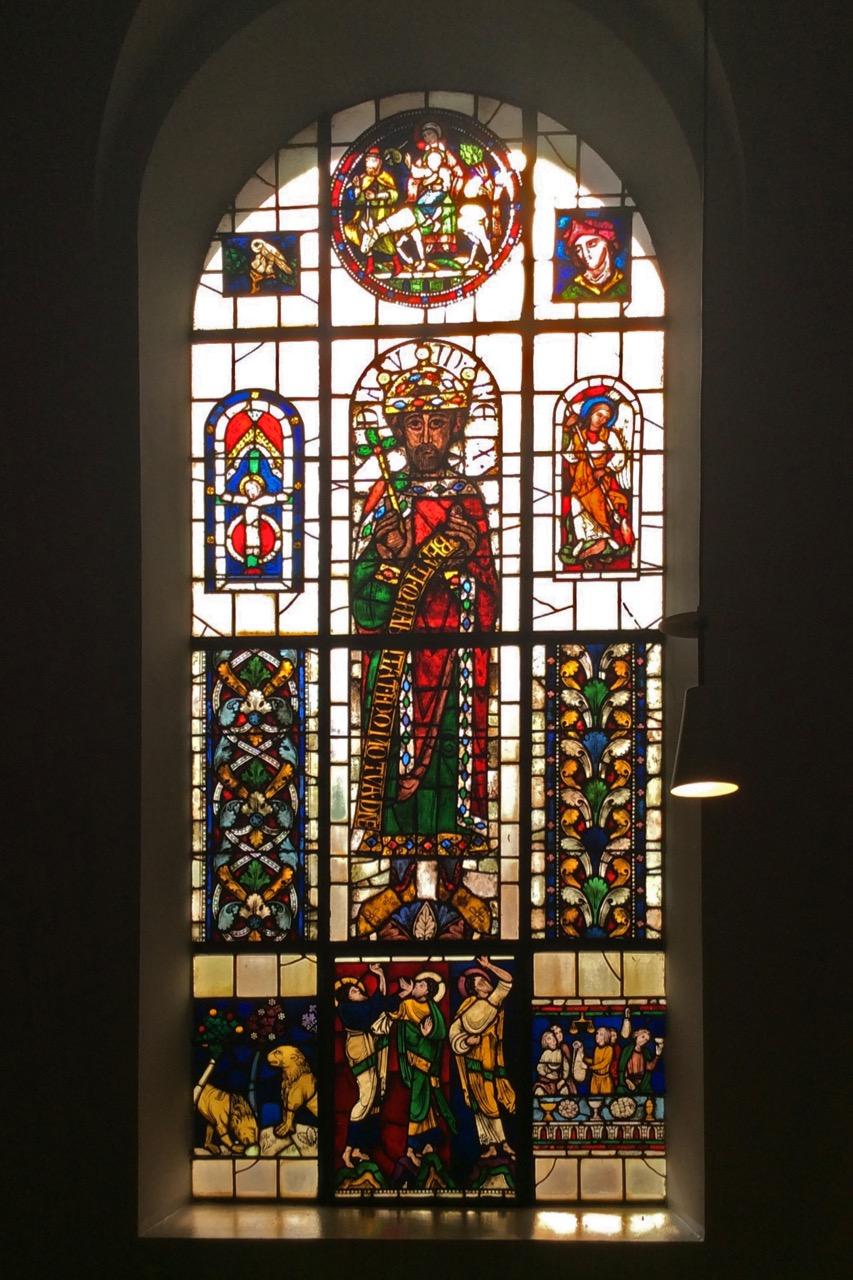 Glasfenster (1821), mittlere Figur nach König David aus den Prophetenfenstern im Augsburger Dom