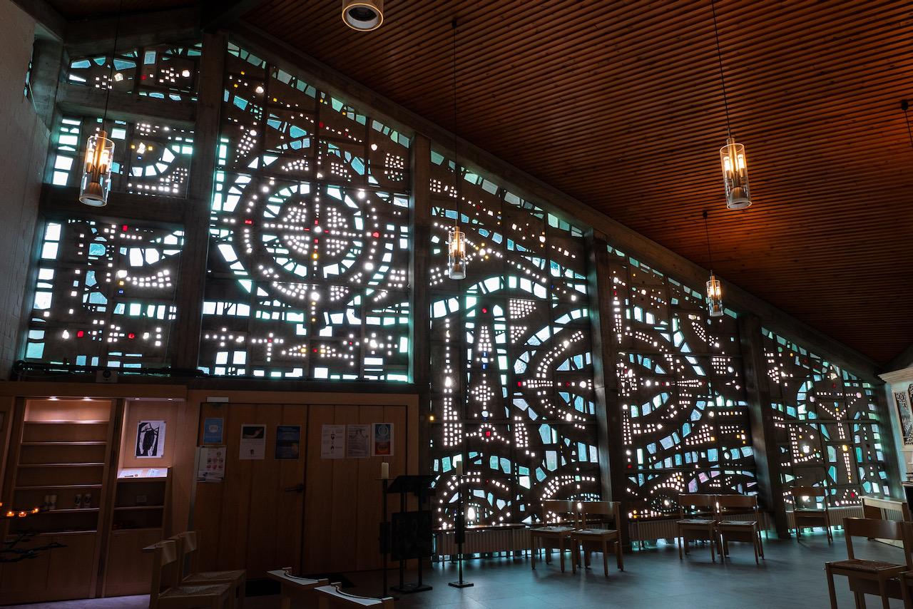 Südwand aus Glasbausteinen