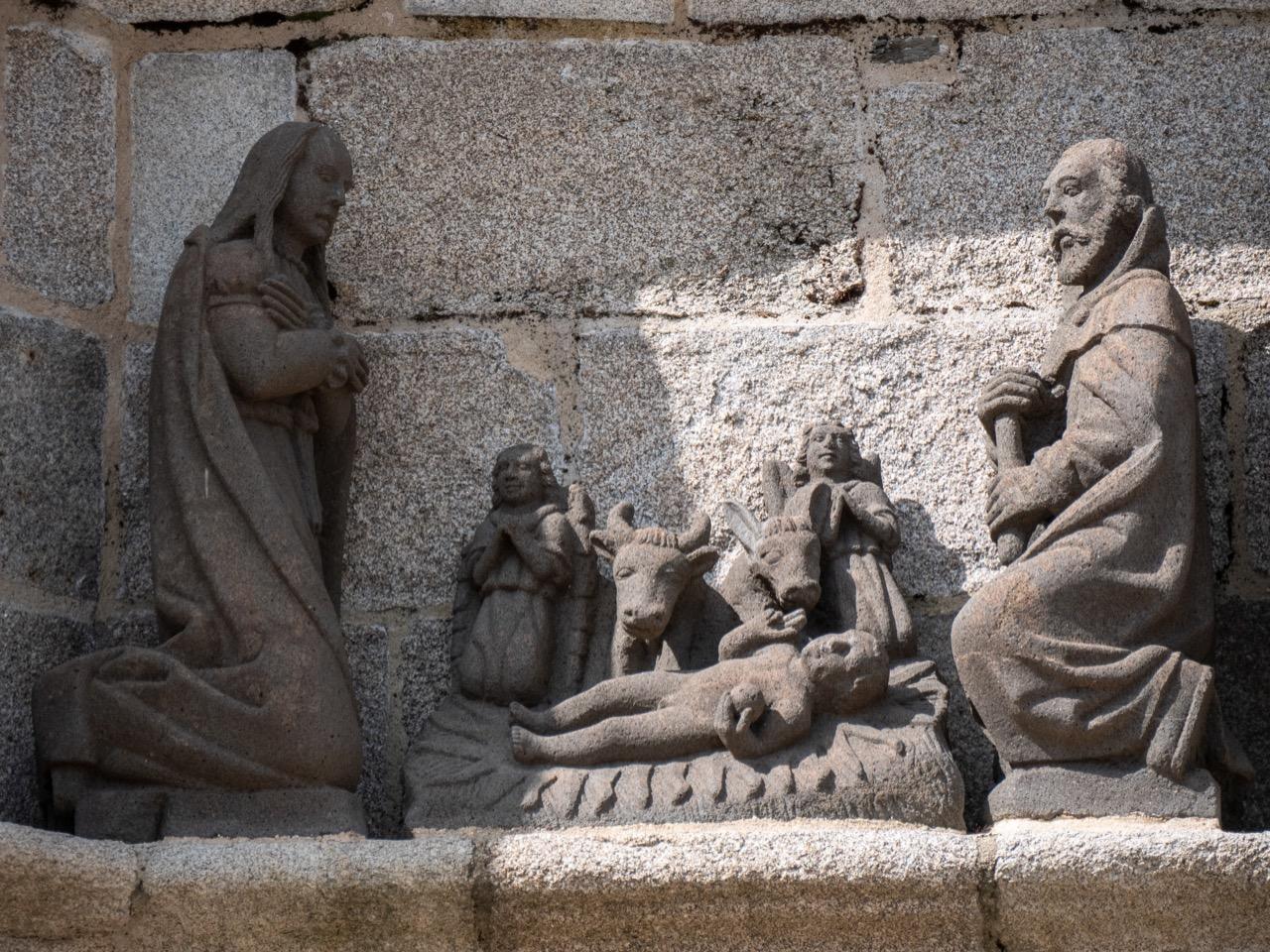 Calvaire, Detail der Südseite (Geburt Jesu, Bastien und Henry Prigent, 1555)
