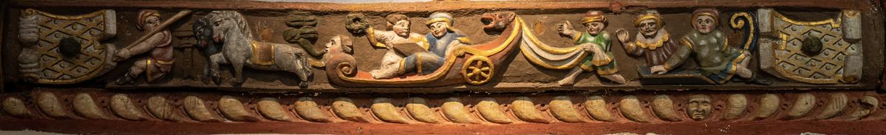 """Fußpfette (""""sablière""""), interpretiert als Begegnung des hl. Philippus mit dem Äthiopier"""