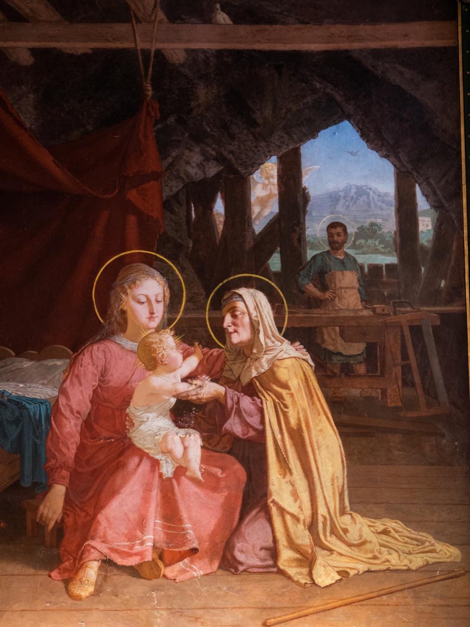 Annenkapelle, Fresko mit Abbildung des Besuchs der hl. Anna in der Werkstatt der hl. Familie in Nazareth (Yan' Dargent, zwischen 1870 und 1883)
