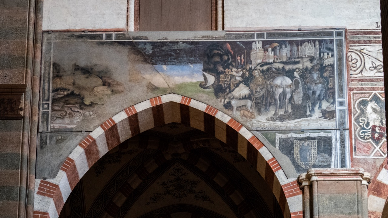 """Fresko des """"hl. Georg mit der Prinzessin"""" (Antonio Pisano, gen. """"Pisanello"""", 1433–1438) in der Pellegrini-Kapelle"""
