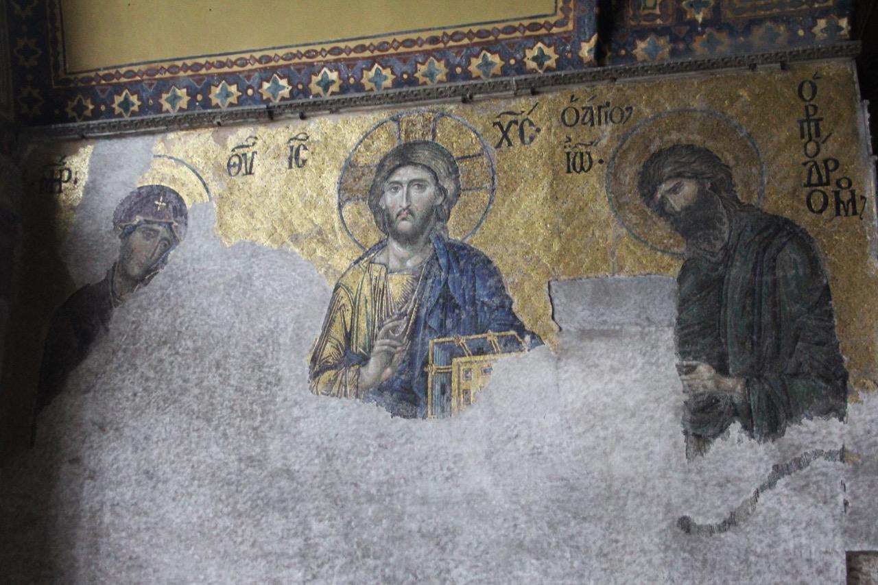 """Mosaik der <a href=""""https://www.visit-a-church.info/glossary#Deesis"""" target=""""_blank"""">Deesis</a> (14. Jh.)"""