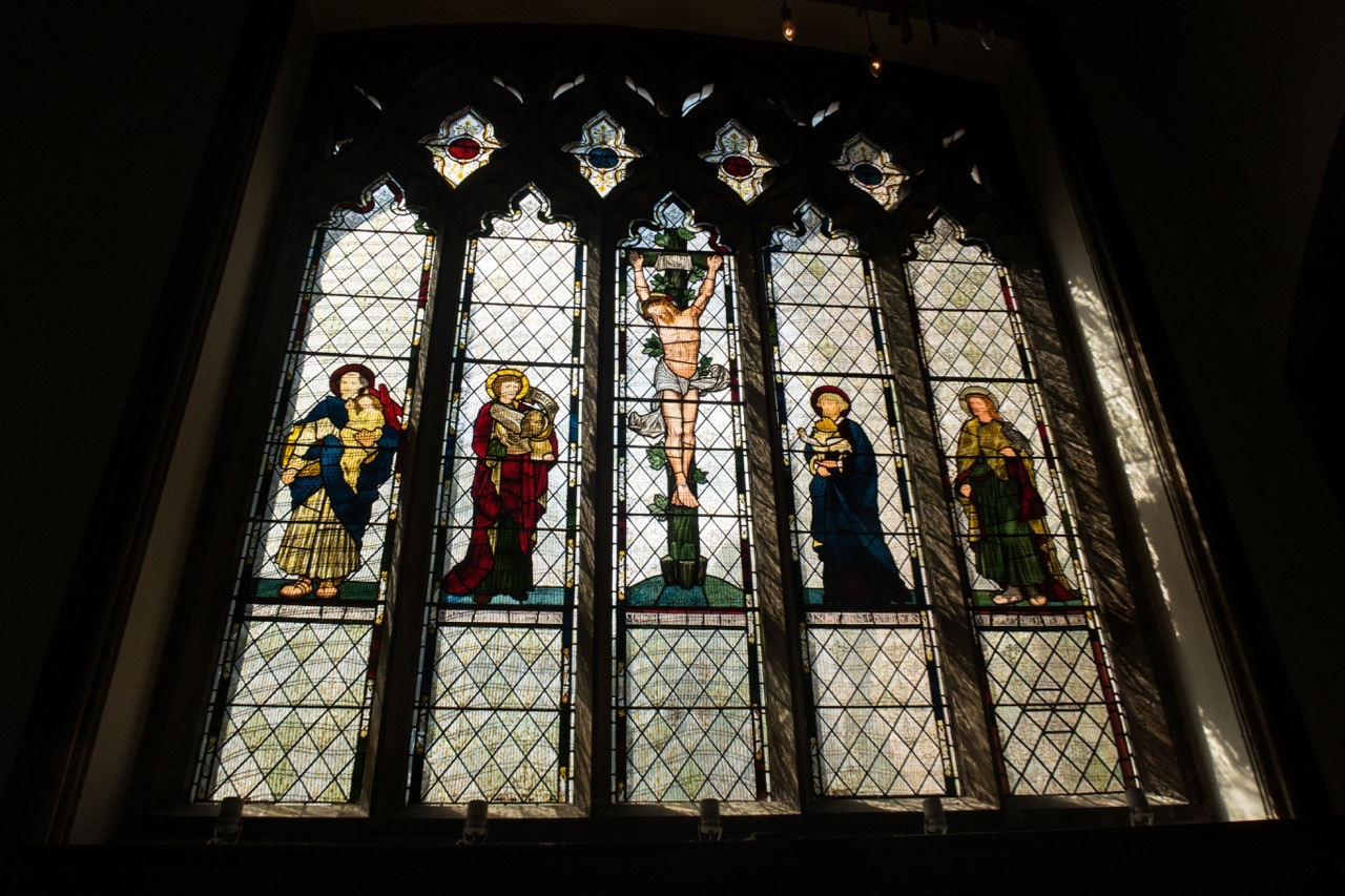 Window showing the four evangelists (William Morris and others, 1867)