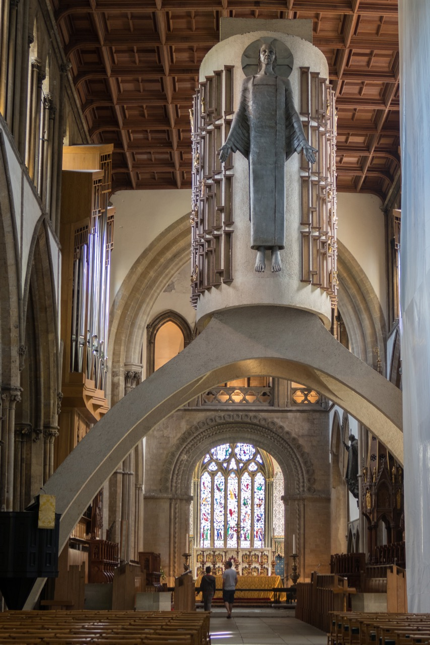 Llandaff Cathedral, interior view with screen (George Pace, 1957; figure of Christ by Jacob Epstein, 1957)