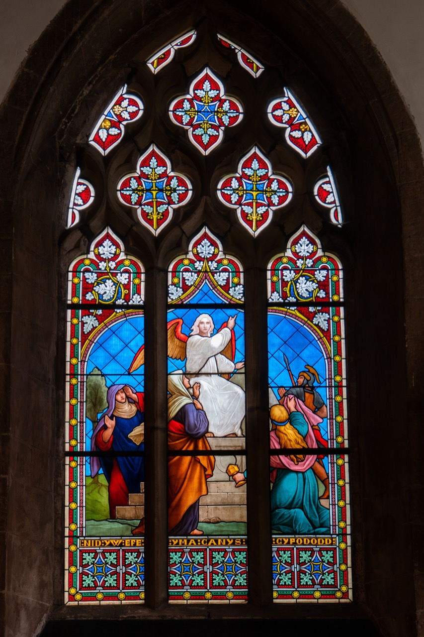 """Stained glass window showing the empty grave <a href=""""https://www.kingjamesbibleonline.org/Mark-Chapter-16/"""" target=""""_blank"""">(Mark 16:1-8)</a>"""