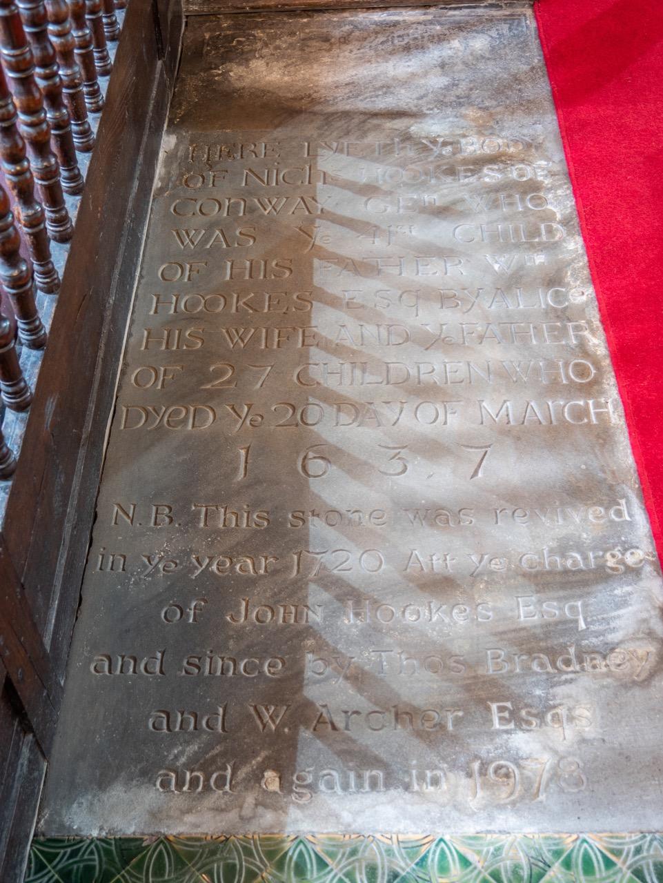 Tomb slab for Nicholas Hookes († 1637)