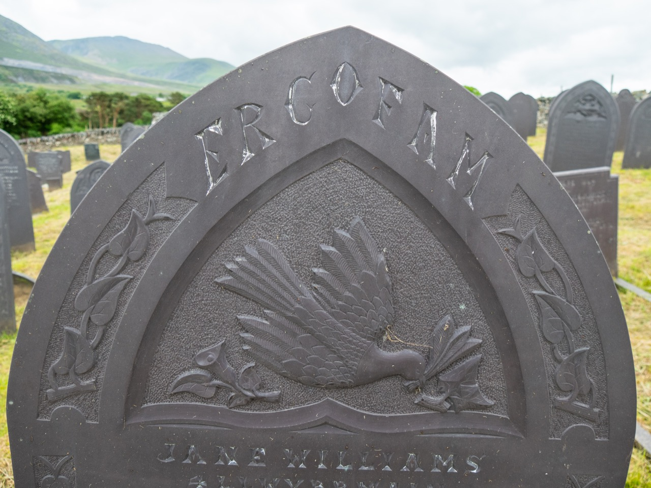 """Tombstone (inscribed """"To the memory of Jane Williams"""")"""