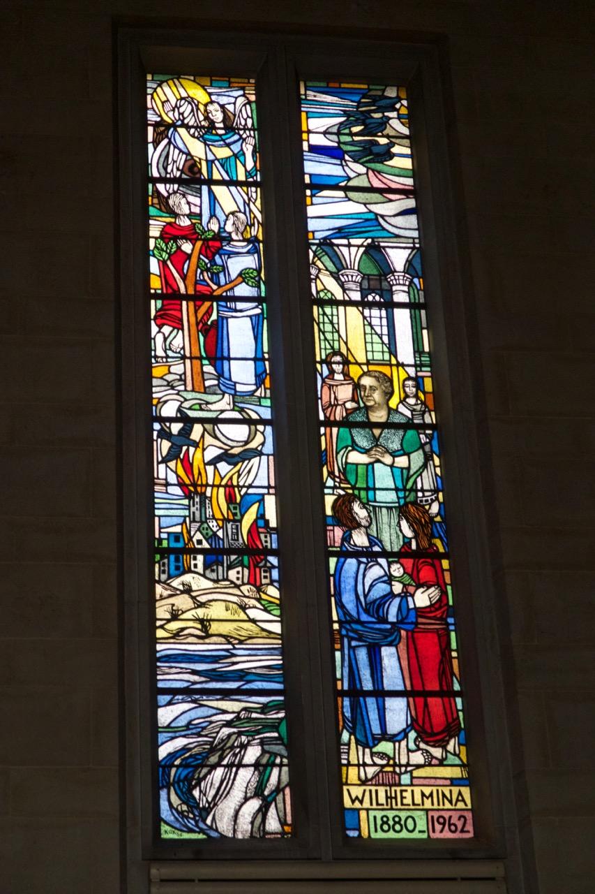 """Stained glass window """"Queen Wilhelmina"""" (P. H. G. C. Kok, 1966)"""