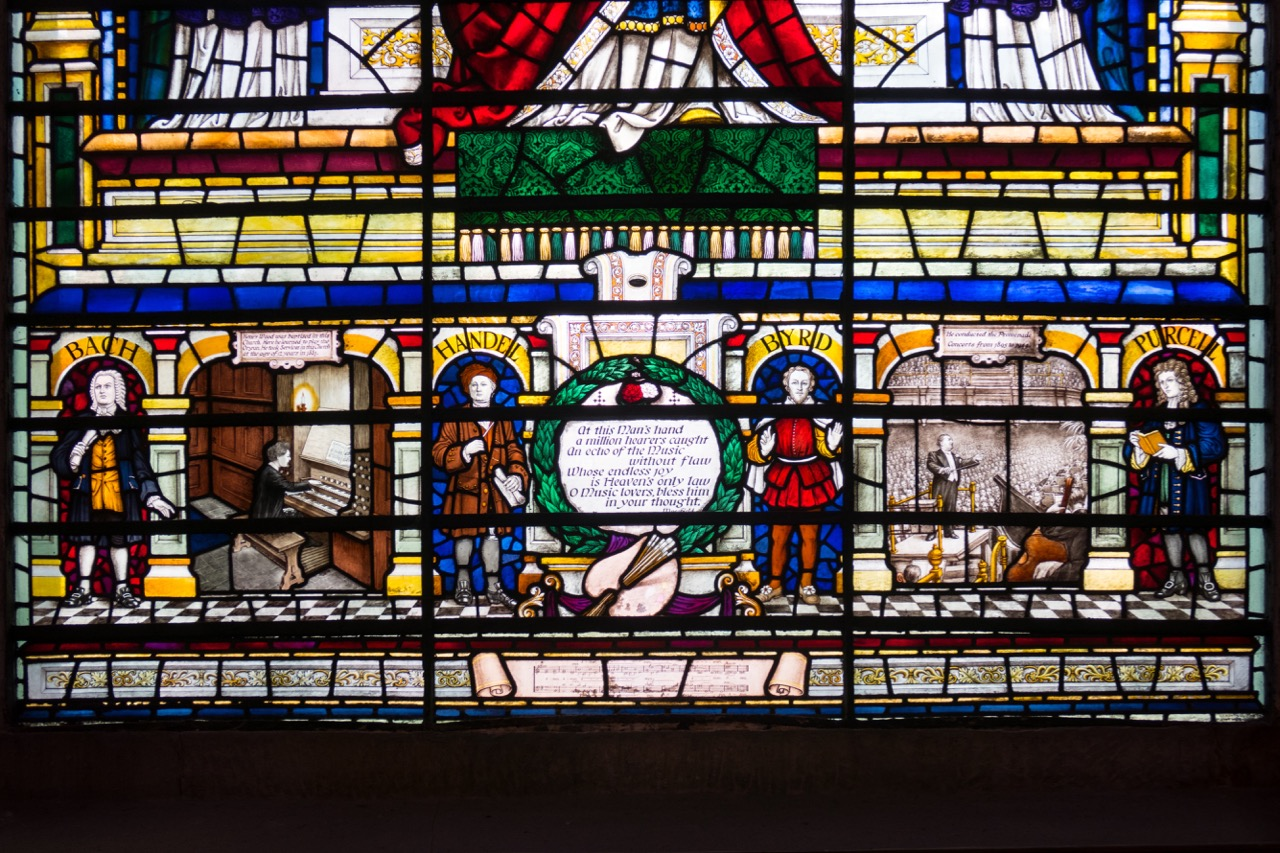 """Stained glass window """"Cecilia"""", detail (Sir Henry Wood memorial window)"""