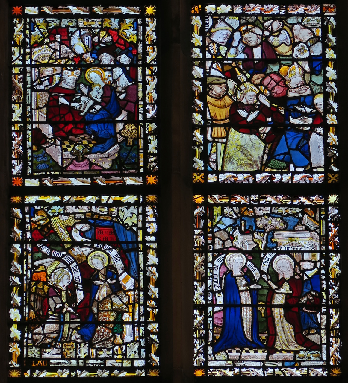 Chancel window (15th/16th c.), detail showing (from top left to bottom right) Jesus's circumcision, Jesus's flagellation, the annunciation, Mary visiting Elizabeth