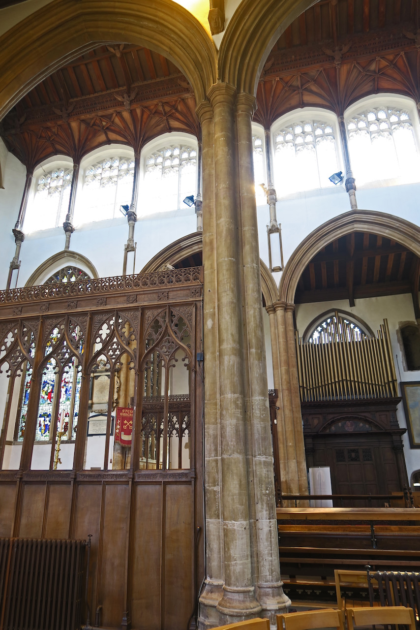 View into the south aisle with an early 18th c. organ case