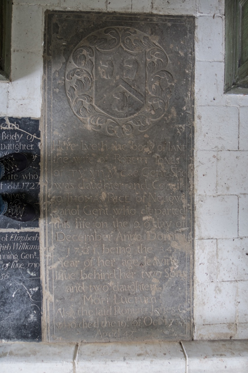 Stone slab for Jane Jones (d. 1721)