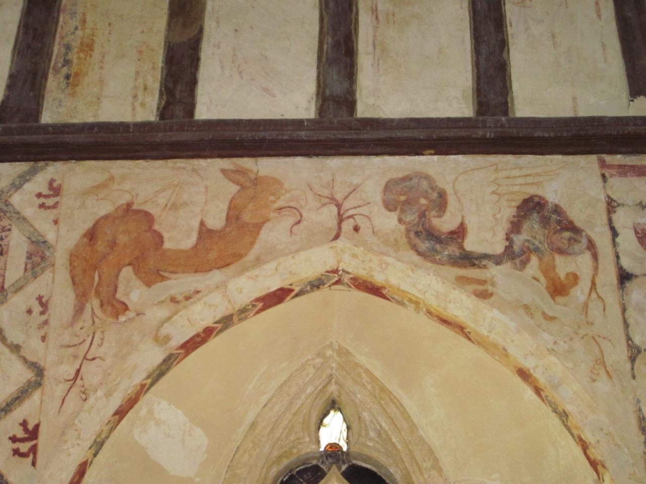 Wall frescoes, mythological beasts (13th cent.)